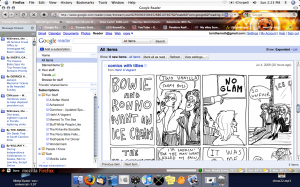A View of Google Reader, listing webcomics, Kate Beaton featured, and Snowl listing news.